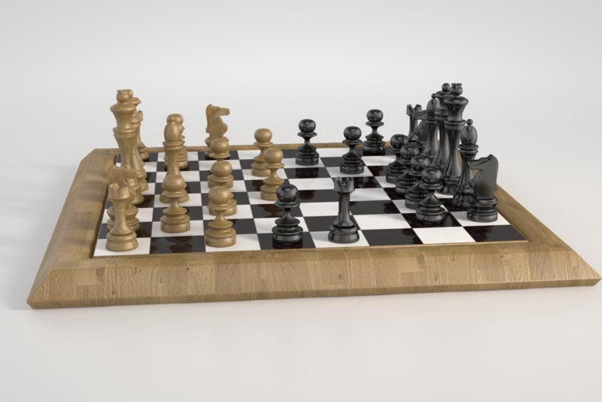 Chessboard 3D Model Vray