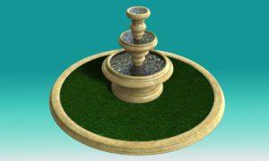 Front Garden Fountain 3D Model