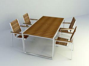 Garden Dinning Set Free 3D Model