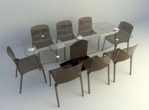 Glass Top Table Set 3D Model
