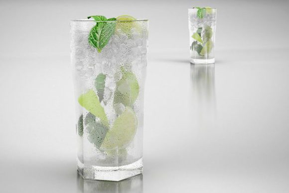 Glass of Mojito With Ice 3D Model
