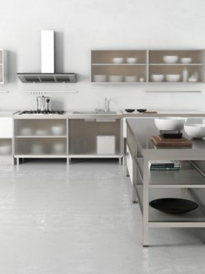 Glass Panel Kitchen Design 3D Model