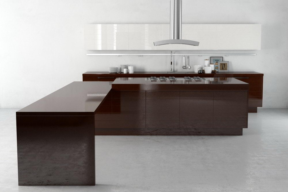 Glossy Wood Kitchen Design 3D Model
