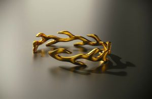 Gold Flame Bracelet 3D model