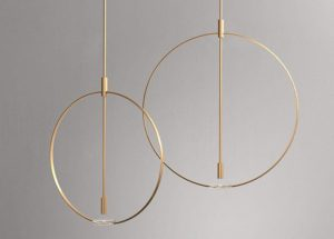Gold Metal Round Pendant Lamp 3D Model