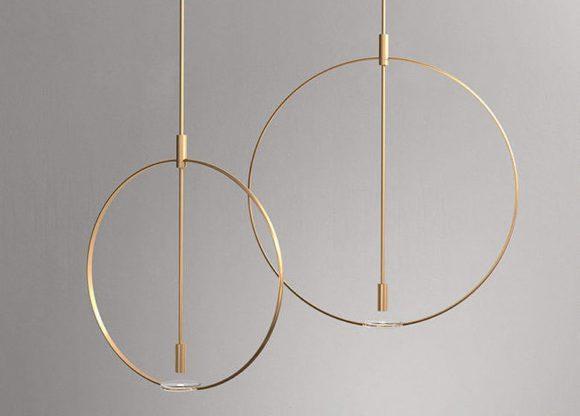 Gold Metal Round Pendant Lamp 3D Model