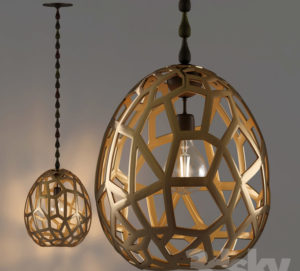 Gold Pendant Lamp 3D Model