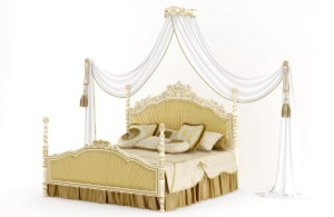 Golden King Size Luxury Bed 3D Model