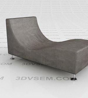 Gray Velve Couch 3D Model
