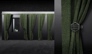 Green Fabric Curtain 3D Model