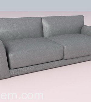 Grey Leather Sofa 3D Model