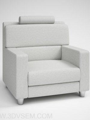 Grey Soft Armchair 3D Model