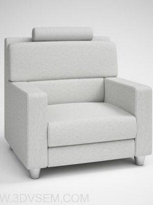 Grey Soft Armchair 3D Model