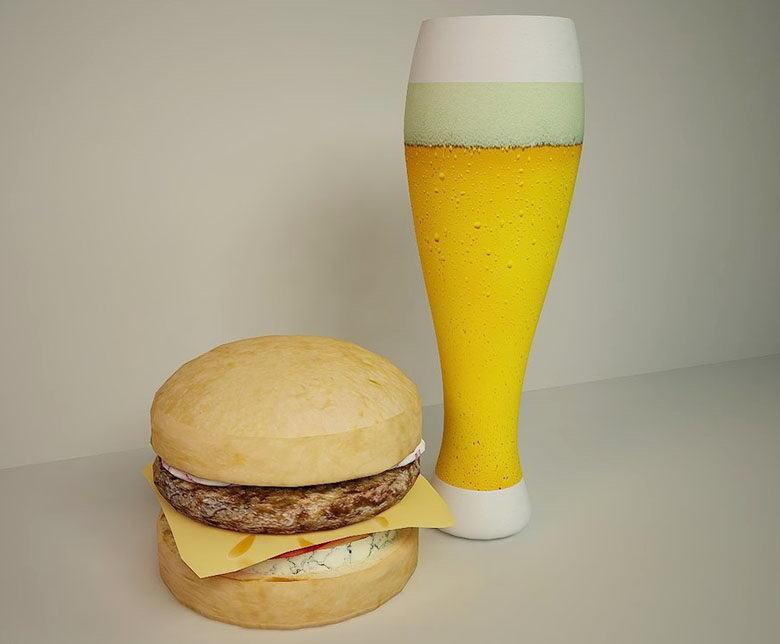 Hamburger with Beer 3D Model