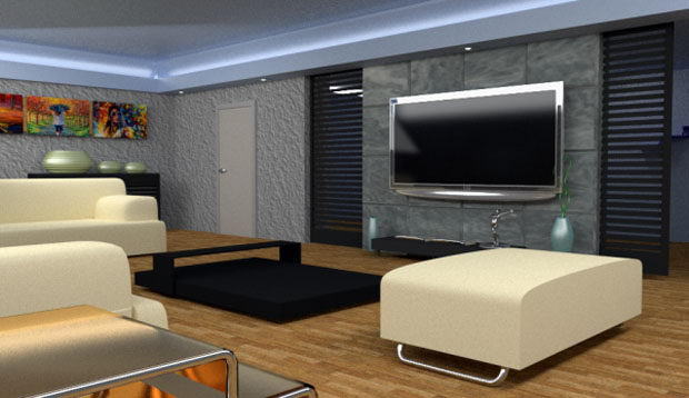 High Poly living room Interior Scene