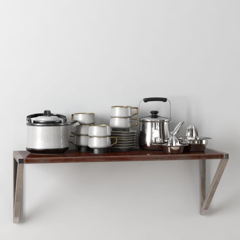 Kettle, Cups, Bowl 3D Model