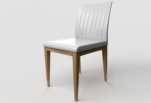 Leather and Wood Chair 3D Model