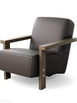 Leather and Wooden Armchair