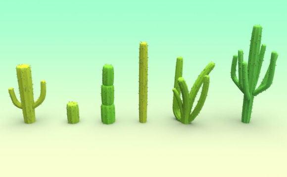 Low Poly Cactus Set 3D Model