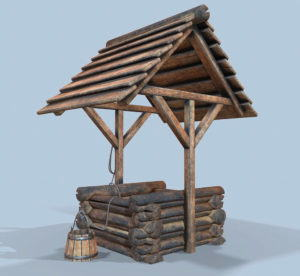 Low Poly Wooden Well 3D Model