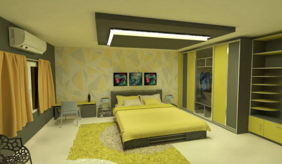 Low poly Bedroom 3D Interior Scene