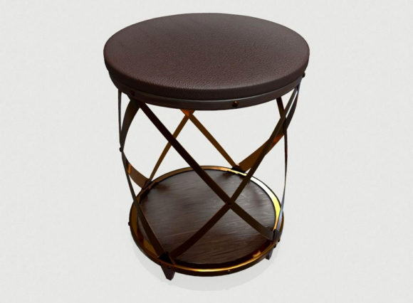 Low poly Leather Stool 3D Model