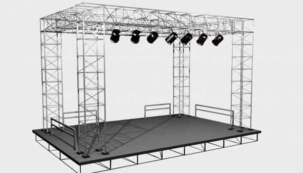 Low poly Stage 3D Model
