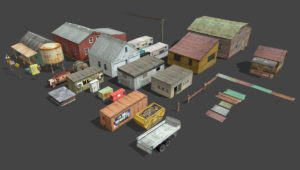 Lowpoly Village Buildings 3D Model Collection