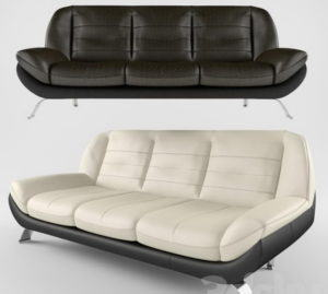 Luxury Big 2 Colours Leather Sofa 3D Model