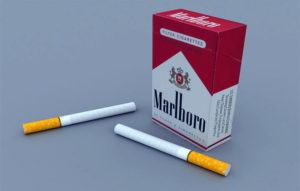 Marlboro Box and Cigarettes 3D Model