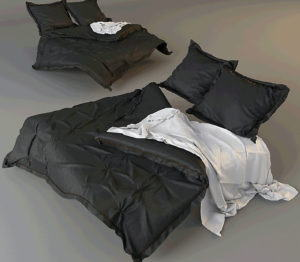 Messy Double Bed Set 3D Model