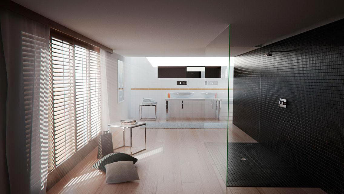 Modern Bathroom Interior Scene