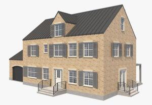 Modern Brick House 3D Model
