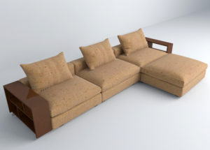 Modern Brown Textile Sofa 3D Model