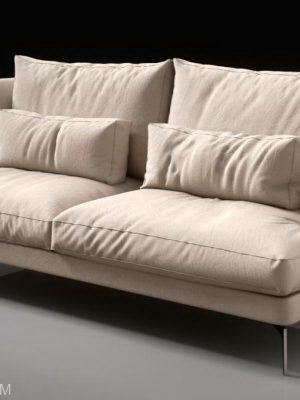 Modern Double Sofa 3D Model