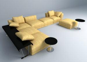 Modern Textile Sofa Set 3D Model