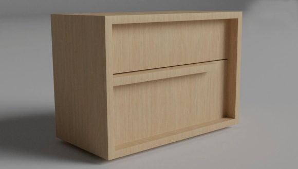Modern Wood Bedroom Sidetable 3D Model