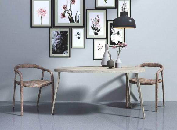 Modern Wood Chair Set 3D Model