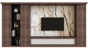 Modern Wood and Marble Tv Panel 3D Model
