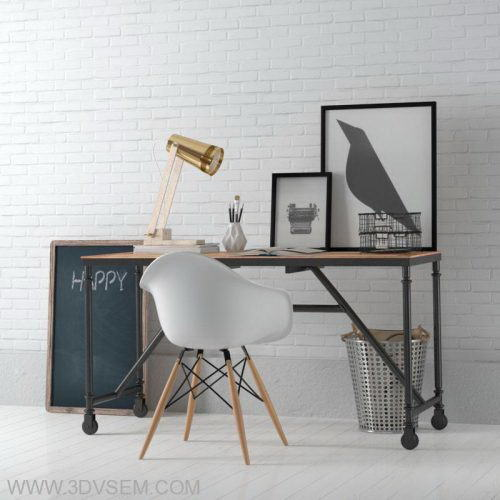Office Furniture 3D Model table, chair, table lamp - Free