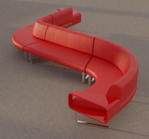 Office Visitor Sofa 3D Model