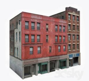 Old Apartment Building Block 3D Model