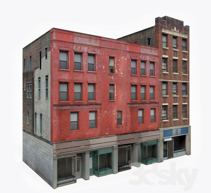 Old Apartment Building: Old Apartment Building Block 3D Model