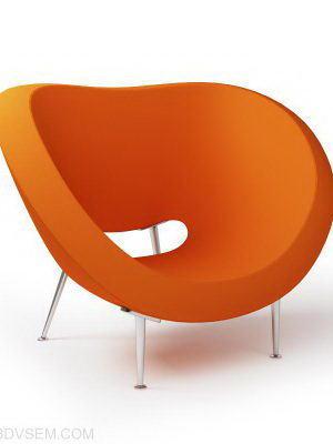 Orange Armchair 3D Model