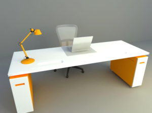 Orange Office Table and Chair 3D Model