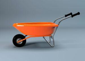 Orange Wheelbarrow 3D Model