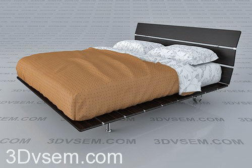Oriental Style Double Bed 3D Model