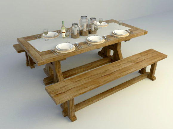 Outdoor Concept Dinning Table 3D Model