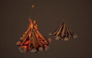 PBR Camp Fire 3D Model