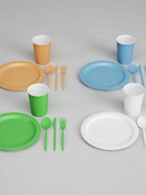 Plastic Spoon,Plate 3D Model